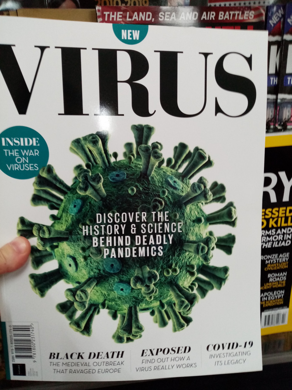 A magazine entitled 'Virus' for £9.99, now selling in WHSmiths